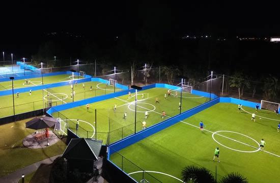 Goals Soccer Fields at Night